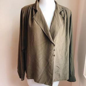 Ellen Tracy Silk Button Down Shirt